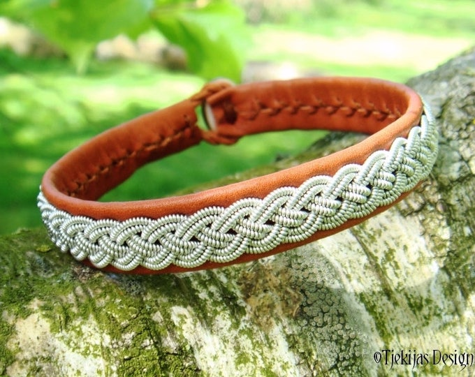 Viking Sami Bracelet ASGARD Cognac Brown Reindeer Unisex Leather Cuff Bangle with Braided Pewter and Antler Button Custom Handcrafted