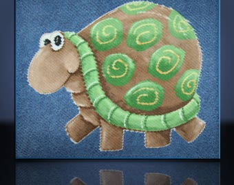 Baby Quilt Handmade Turtle Chenille Green & Blue 42x34 by Mary Brader #636