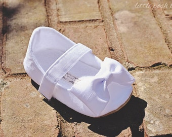 Baby Girl Shoes Toddler Girl Shoes Soft Soled Shoes Wedding Shoes White Shoes Faux Dupioni Silk Flower Girl Shoes  - Everly