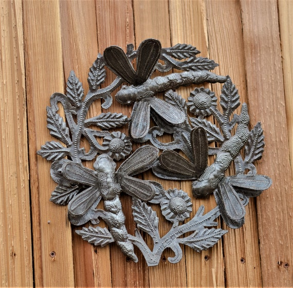 """Metal Dragonflies, Tranquility Garden Decor, Quality Craftsmanship from Haiti, Recycled Oil Drums,3D Art, 12"""" x 12"""""""
