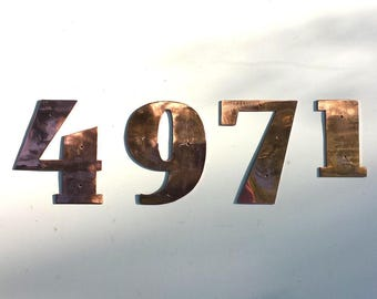 "Art Deco copper house numbers -  75mm/3"" high cutout. handmade in polished or hammered finish g"