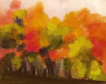 landscape painting, abstract landscape painting, watercolor landscape, landscape print -Autumn Day No. 5 - limited Edition Archival Print