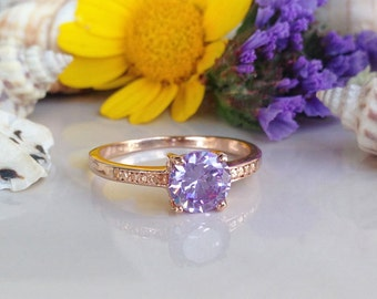 20% off- SALE!! Lavender Amethyst Ring - Gemstone Ring - Stack Ring - Faceted Ring - Purple Ring - Solitaire Ring - Round Ring