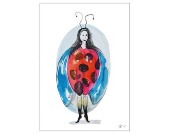 Colorful watercolor illustrated art card  - art postcard - illustration - watercolor greetings card ladybug - Eco-Friendly Stationery