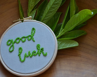 Custom hand embroidered embroidery hoop | thank you | good luck | love you | best friends