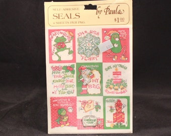 Vintage Paula Christmas Pickle to Frog Stickers. 4 Sheets. Sealed
