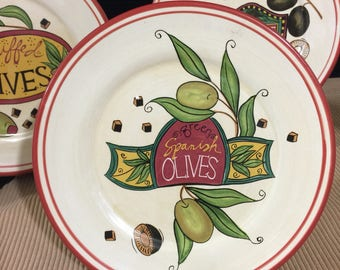 Centrum Olives and Labels. Green Spanish Olives, Large Pitted Olives, and Stuffed Olives, set of three plates