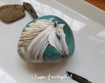 Painted Stone, Painted Horse Stone, Arabian Horse, White Horse Decor, Horse Decor, Stone Art Horse