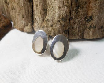 Modern Sterling Silver White Mother Pearl Oval Earrings,Mother Pearl Earring,Oval Earring,Shell Earring,Personalized Gifts,Gifts For Her