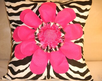 19 X 19 Pillow cover with a Hot Pink Flower and a Hot Pink hand beaded center on a Zebra print fabric