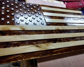Handcrafted burned wooden 3D UNITED STATES flag.