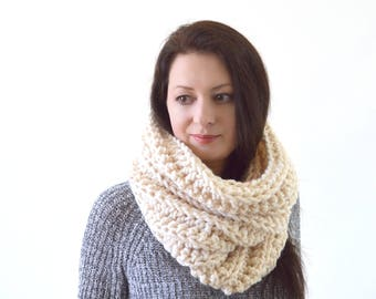 Chunky Knit Cowl Neck Warmer Scarf | The Ghent