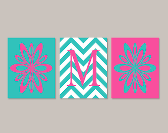 Teen Girl Room Decor Teen Girl Wall Art Prints Or Canvas Flower Wall Art Floral Print Bedroom Pictures Hot Pink Turquoise Set of 3