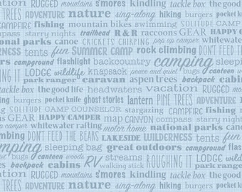 Blue Camping Words Fabric, Patrick Lose Let's Go Camping, Bare Necessities Jargon 63937-160715 Big Sky, Quilt Fabric for Campers, Cotton