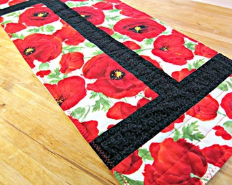 Quilted Table Runner, Modern Runner, Fabric Table Runner, Poppy Table Runner, Poppy Decor, Poppies, Red Table Runner, Quilted Table Topper