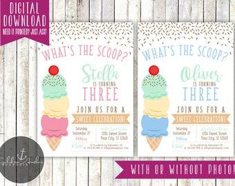 Ice Cream Birthday Party Invitation, Ice Cream Parlor Invite, Photo - Printable DIY