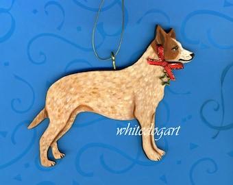Red Heeler Australian Cattle Dog Christmas Ornament
