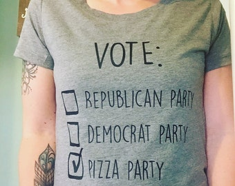 Vote Pizza Party T-shirt Tee - Republican Party - Democrat Party - Gray, Grey - Political