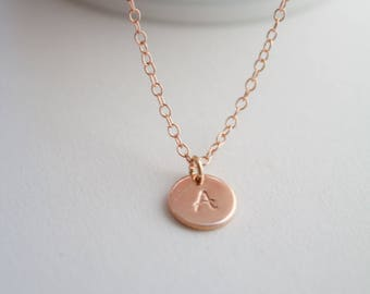 Rose gold necklace, rose gold initial necklace - personalised gold disc necklace - name necklace - initial necklace - bridesmaid jewelry