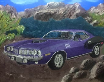 Canvas Oil Painting of a 1970 Purple Plymouth Barricuda