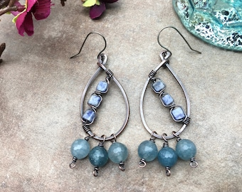 Sodalite and Aquamarine Earrings, Artisan Earrings