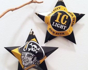 I.C. Light Pirates Pittsburgh Beer Stars, IC Light Christmas Ornaments, Aluminum Can Upcycled Our City Our Team, Iron City Beer