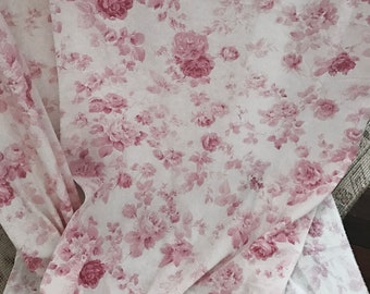 "SALE Pair beautiful pink rose cotton 84"" curtain shabby French Nordic chic Rachel Ashwell roses floral voile"