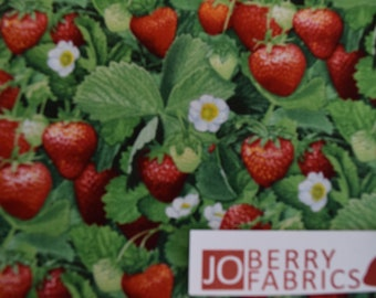 Strawberries by Elizabeth Studio, Quilt or Craft Fabric, Fabric by the Yard.