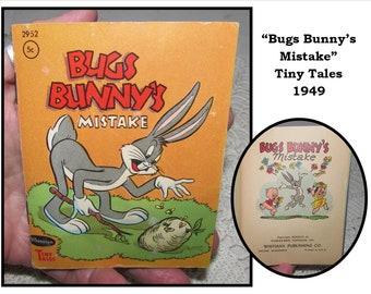 Vintage Mini Childrens Book, Bugs Bunny's Mistake, 1949, Tiny Tales, Whitman Publishing, Warner Bros cartoon