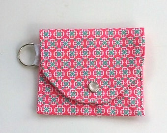 Coin Purse, Keychain wallet, Vegan wallet, Coral and Teal, id wallet for school, gift for her under 10 dollars