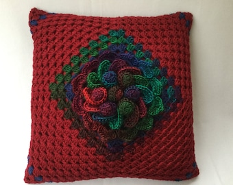 "Crochet cushion, flower pillow, decorative pillow, Christmas cushion,burgundy cushion,Flower cushion, 17"" cushion, insert included"