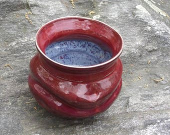 This autumn /ruby red bowl / orchid planter/inspired by ancient aztec forms