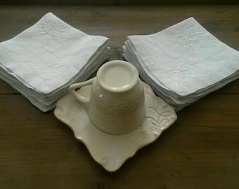 12 old monogrammed / coffee or tea set / vintage