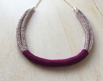 Purple neck Knit Necklace
