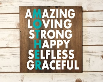 MOTHER Wooden Wall Decor Sign Amazing Loving Strong Happy Selfless Graceful Christmas Present Mothers Day Birthday Gift Best Mother's Sign