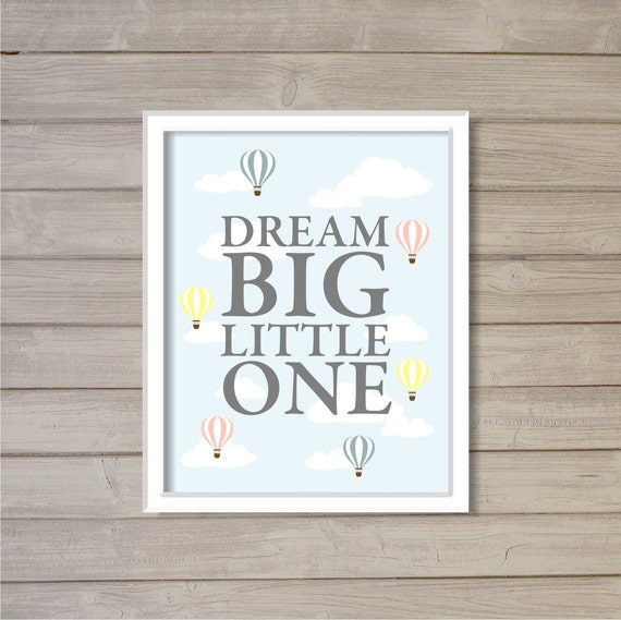 Dream Big Little One Hot Air Balloon Pastel Colors 8x10 Wall