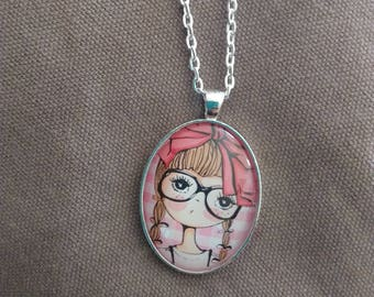 Necklace cabochon girl glasses