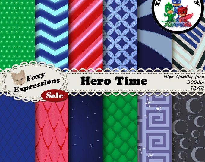 Hero Time digital paper inspired by PJ Masks. Designs include Owlette feathers, Catboy suit pattern, Gekkos scales, Night Ninjas suit & more