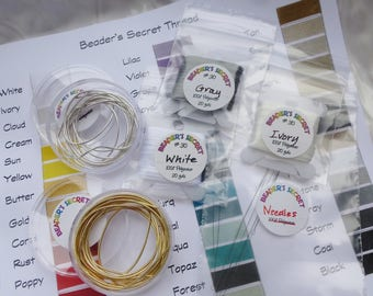 Pearl Knotting Starter Kit Beader's Secret Stringing Needles French Wire Thread Beading Set Learn to Knot Pearls White Ivory Gray Handcraft