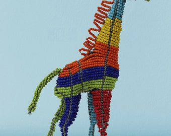Multi-coloured African wire and bead giraffe: This ultra-modern take on the giraffe is a fun element suitable for any room in the house