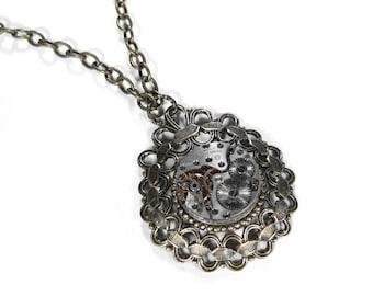 Steampunk Jewelry Necklace Vintage Jeweled Watch Movement ORNATE Setting Wedding Anniversary Girlfriend Fiancee Gift - Jewelry by edmdesigns