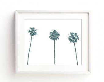 palm tree print, blue dorm decor, palm tree download, printable, tropical decor, California art, California dreaming, kids wall art, jpg