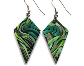 Sage Green Earrings, Emerald Earrings, Big Earrings, Geometric Earrings, Khaki Earrings, Polygonal Earrings, Long Earrings, Dangle Earrings