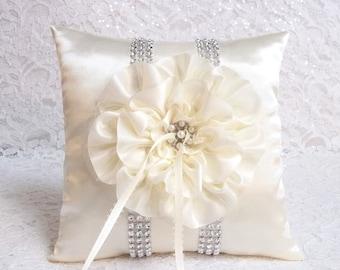Ivory Satin Ring Bearer Pillow / Ivory Flower and Trim / Rhinestone Mesh Trim / Wedding Pillow / Ring Pillow / Bling Pillow