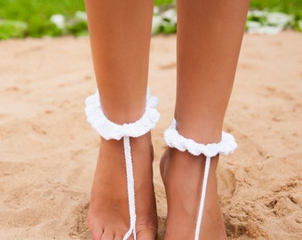 White crochet barefoot sandal Bridal shoes Foot jewelry Footless sandals Beach wedding barefoot sandals Foot thongs Nude shoes Ruffle Lace