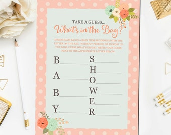 What's in the Bag Baby Shower Game, Baby Shower Game Printable, Floral Baby Shower Games, What's in the Bag Game Instant Download BB3