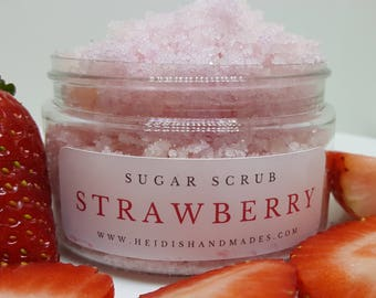 Strawberry Sugar Scrub - Natural Exfoliant - Strawberry Exfoliant - Honey Sugar Scrub