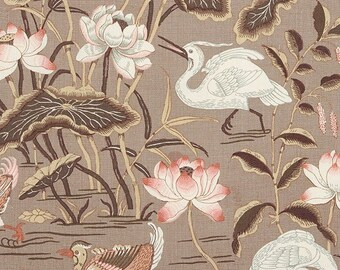 Lotus Garden Chinoiserie Fabric Asian Bird Print Drapes Schumacher Curtains Mocha Taupe Custom Curtains Lined Panels Pinch Pleat Drapes