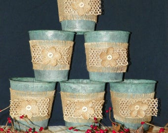 """Metal Flower Pots with Burlap Flowers and Ribbon, SET of 6 GREEN Verde Metal Buckets, 4 1/2"""" High, Perfect to Just add Potted Flowers"""