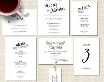 Printed Wedding Invitations Black and White Wedding Invitations Simple Classic Wedding Invites Script font Wedding Invitation Suite Formal